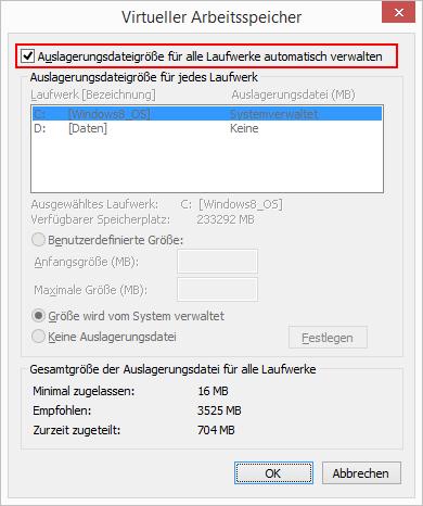 Windows 8.1 Auslagerungsdatei verwalten