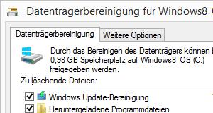 Windows 8.1 Datenträgerbereinigung