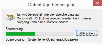 Windows 8.1 Datenträgerbereinigung Scanvorgang