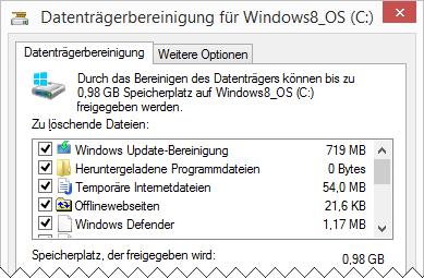 Windows 8.1 Datenträgerbereinigung: Systemdateien Bereinigung