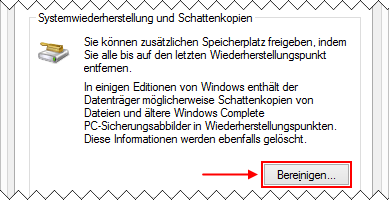 Windows 8.1 Datenträgerbereinigung: Systemwiederherstellungspunkte löschen