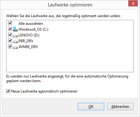 Windows 8.1 Defragmentierung Laufwerke auswählen