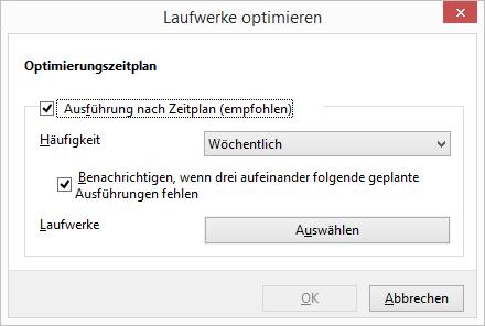 Windows 8.1 Defragmentierung Zeitplan ändern