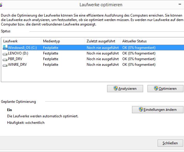 Windows 8.1 Defragmentierung