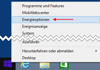 Windows 8.1 Energieoptionen aufrufen