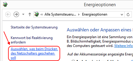 Windows 8.1 Energieoptionen Ruhezustand prüfen
