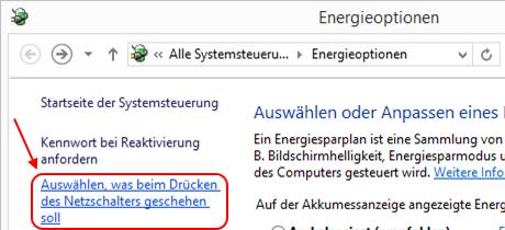 Windows 8.1 Energieoptionen Schnellstart prüfen
