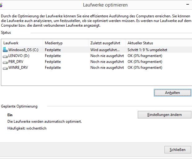 Windows 8.1 Festplatte defragmentieren