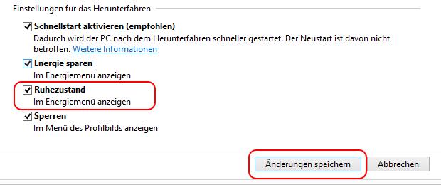 Windows 8.1 Ruhezustand anzeigen verbergen