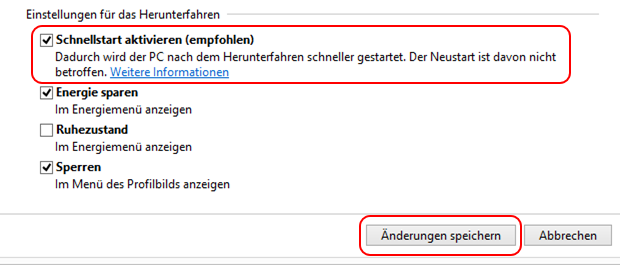 Windows 8.1 Schnellstart einschalten und ausschalten