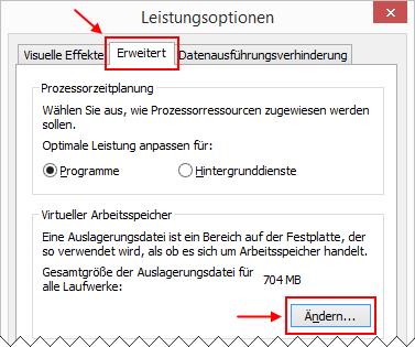 Windows 8.1 Verwaltung Auslagerungsdatei aufrufen