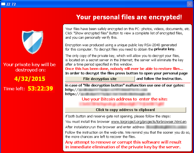 Crypto Ransomware Popup: Your personal files are encrypted!