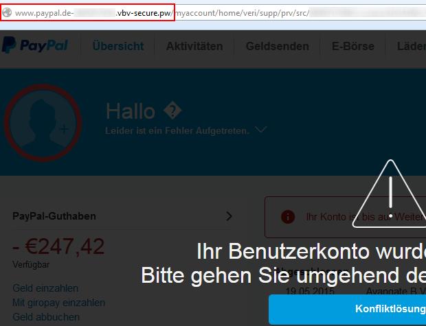 Phishing E-Mail PayPal: Ihr Benutzerkonto wurde eingeschränkt