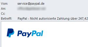 Phishing E-Mail von PayPal: Nicht autorisierte Zahlung