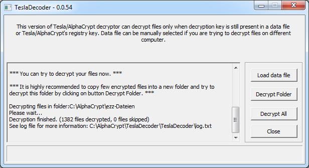 Mit TeslaDecoder .ezz-Dateien erfolgreich entschlüsselt