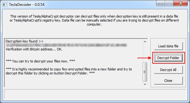 TeslaDecoder: Ordner mit .ezz-Dateien zum Entschlüsseln auswählen