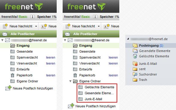 Freenet Standard-IMAP-Ordner Outlook 2010 eigene Ordner