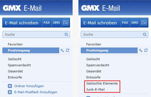GMX Standard-IMAP-Ordner und Outlook 2010 eigene Ordner