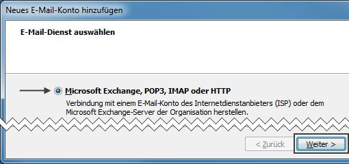 Outlook 2007 extra Dialog mehrere E-Mail-Konten