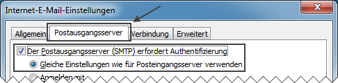 Outlook 2007 neues E-Mail-Konto einrichten Postausgangsserver erfordert Authentifizierung