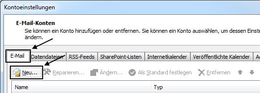 Outlook 2010 Neues E-Mail-Konto einrichten