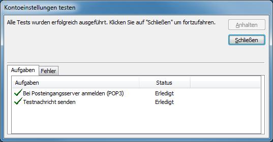 Outlook 2007 neues E-Mail-Konto Einstellungen testen