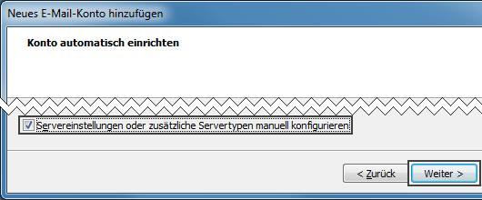 Outlook 2007 neues E-Mail-Konto Servereinstellungen manuell konfigurieren