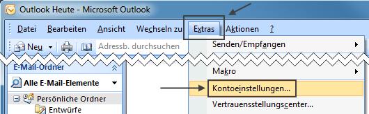 Outlook 2007 neues E-Mail-Konto: Extras > Kontoeinstellungen