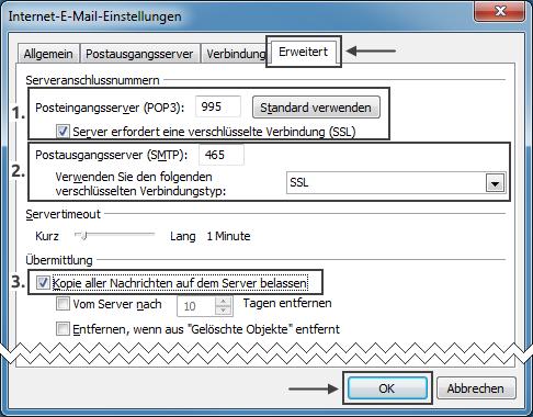 Outlook 2010 neues E-Mail-Konto Server-Ports und Verschlüsselung