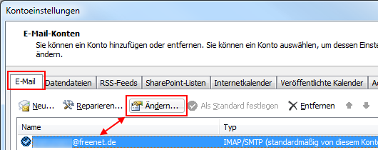 Outlook 2010 Freenet IMAP-Konto ändern