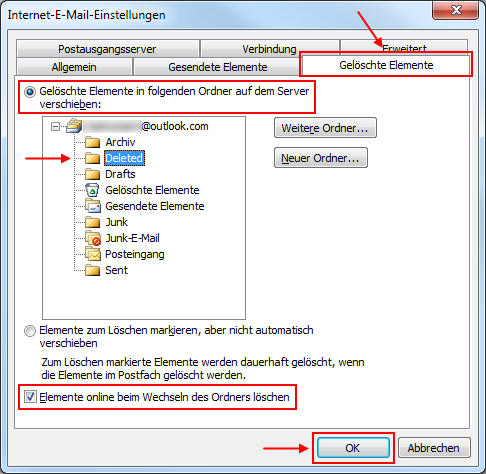 Outlook 2010 Gelöschte Elemente in den Outlook.com IMAP-Ordner Deleted verschieben