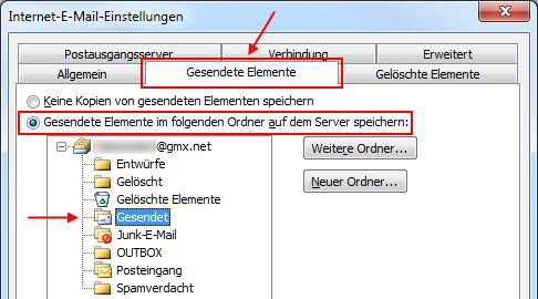 Outlook 2010 Gesendete Elemente in GMX IMAP-Ordner Gesendet speichern