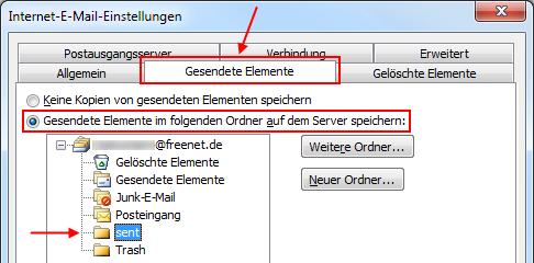 Outlook 2010 Gesendete Elemente im Freenet IMAP-Ordner sent speichern
