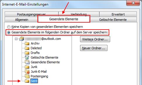 Outlook 2010 Gesendete Elemente im Outlook.com IMAP-Ordner Sent speichern
