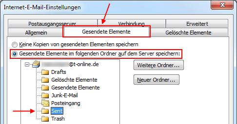 "Outlook 2010 Gesendete Elemente in T-Online IMAP-Ordner ""Sent"" speichern"