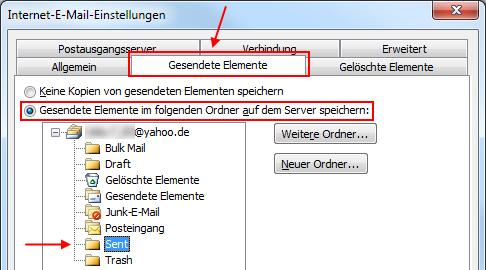 Outlook 2010 Gesendete Elemente im Yahoo! Mail IMAP-Ordner Sent speichern