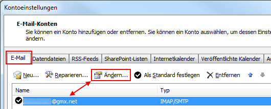 Outlook 2010 GMX IMAP-Konto ändern