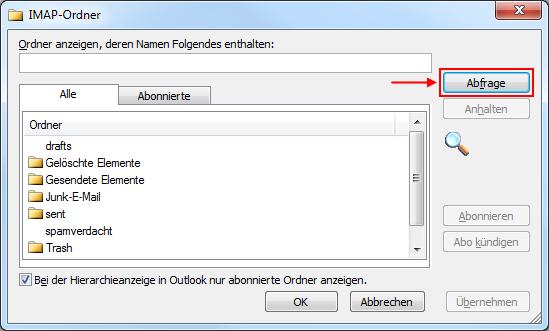 Outlook 2010 IMAP-Ordner Abfrage