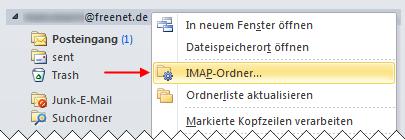 Outlook 2010 IMAP-Ordner abfragen