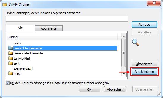 Outlook 2010 MAP-Ordner Abonnement kündigen