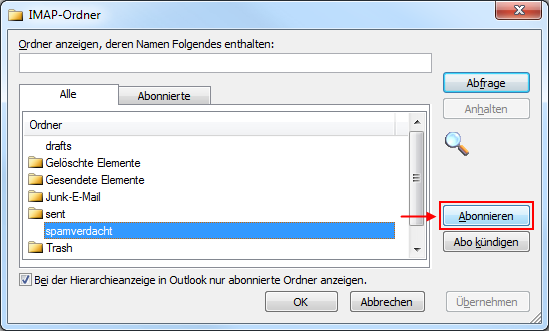 Outlook 2010 IMAP-Ordner abonnieren