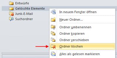 Outlook 2010 IMAP-Ordner löschen
