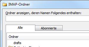 Outlook 2010 IMAP-Ordner synchronisieren, abrufen und abonnieren
