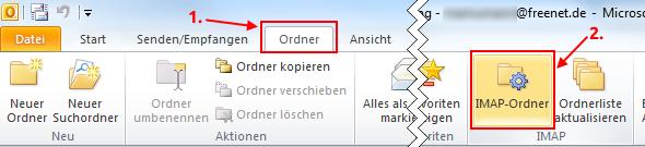 Outlook 2010 IMAP-Ordner vom Postserver abfragen