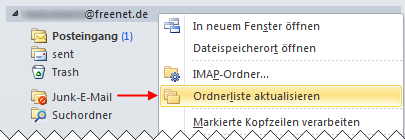 Outlook 2010 IMAP Ordnerliste aktualisieren