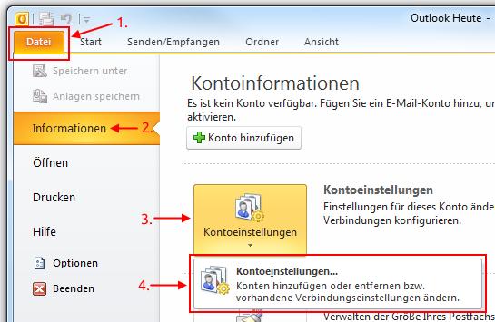 Outlook 2010 Kontoeinstellungen aufrufen