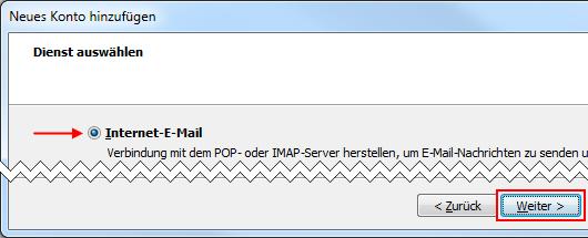 Outlook 2010 neues E-Mail-Konto Dienst auswählen