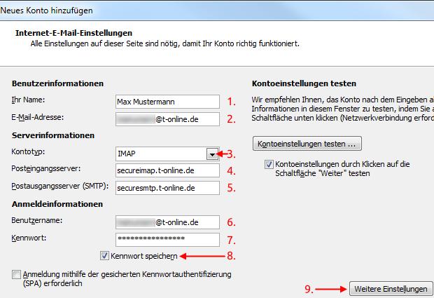 Outlook 2010 neues E-Mail-Konto IMAP Einstellungen