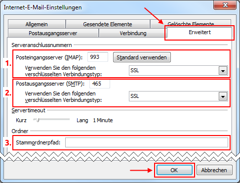 Outlook 2010 neues E-Mail-Konto IMAP Serverports und Verschlüsselung