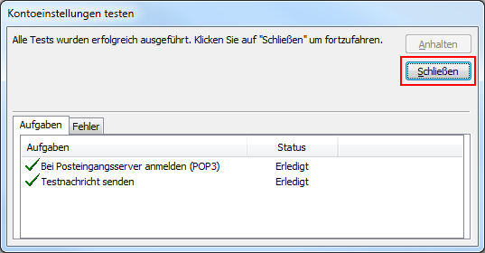 Outlook 2010 neues E-Mail-Konto POP3 Kontoeinstellungen testen